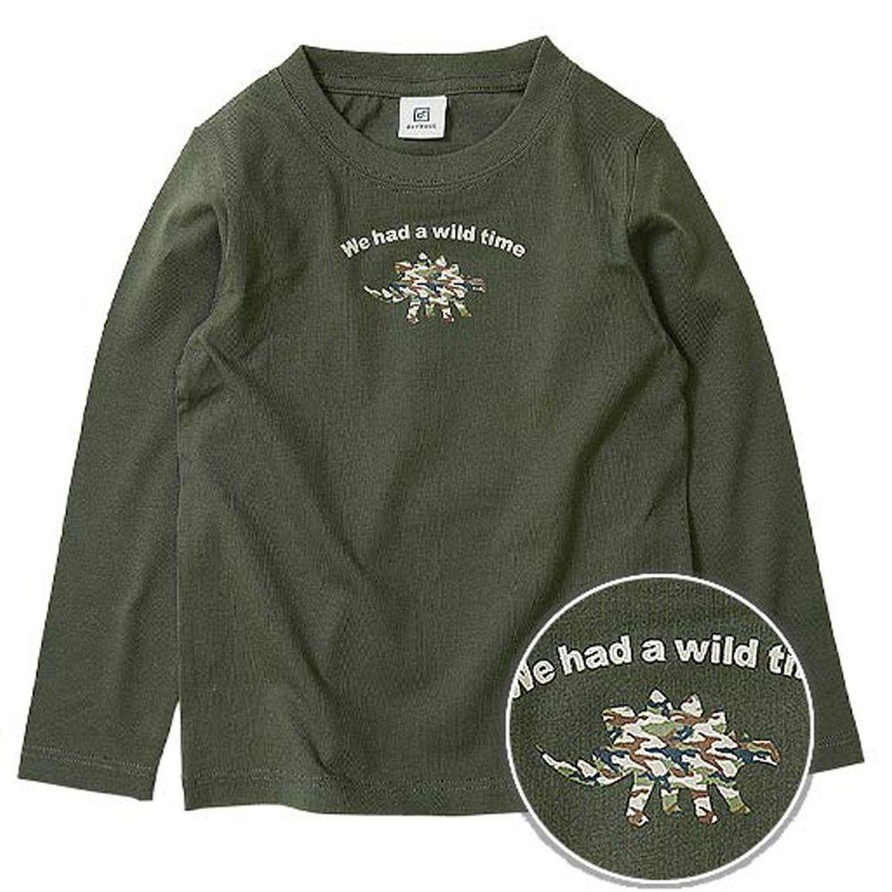 日本 devirock - 純棉 定番百搭印花長T-迷彩恐龍-墨綠