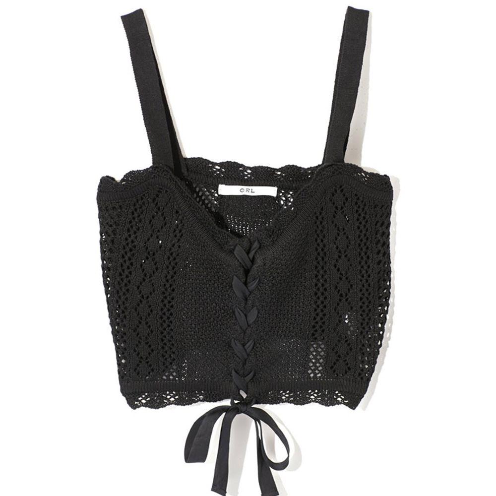 日本 GRL - 渡假風綁帶鏤空細肩帶背心-時尚黑 (M)