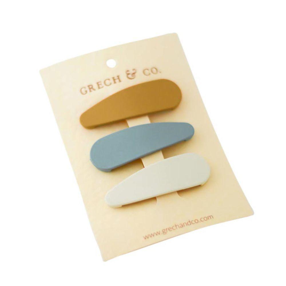 丹麥GRECH&CO - 髮夾三入組-杏黃/天空藍/奶茶