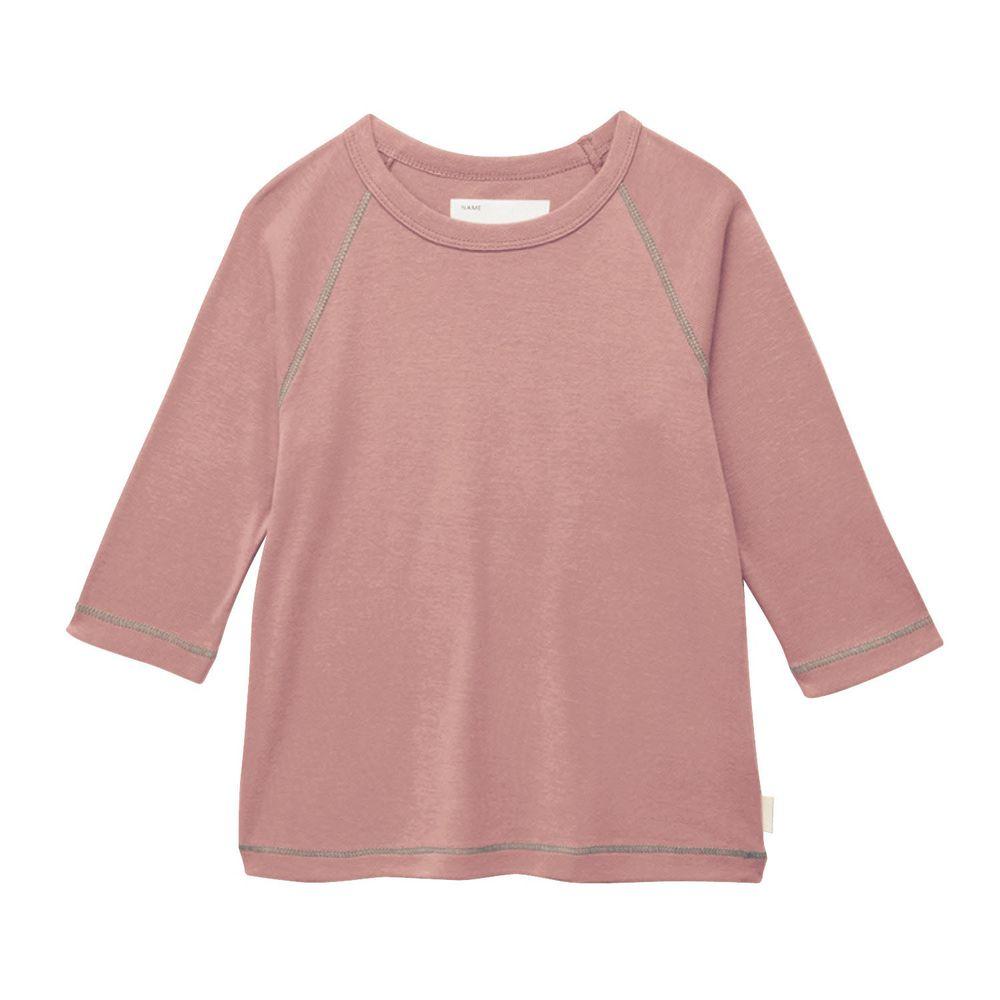 日本千趣會 - GITA 純棉輕薄舒適七分袖T-素面-灰粉