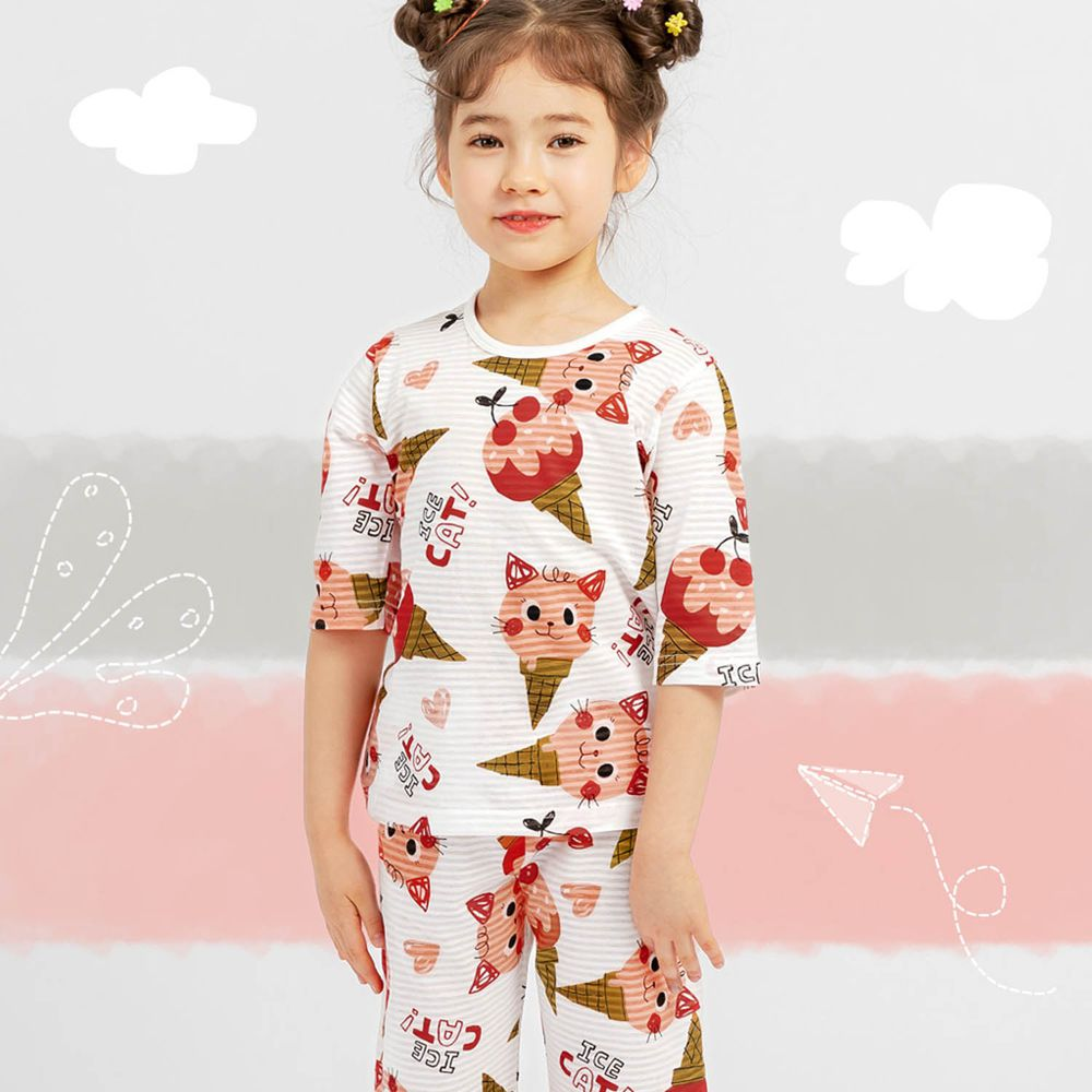 韓國 Mellisse - 韓製透氣輕薄7分袖家居服(無螢光棉)-甜筒貓咪