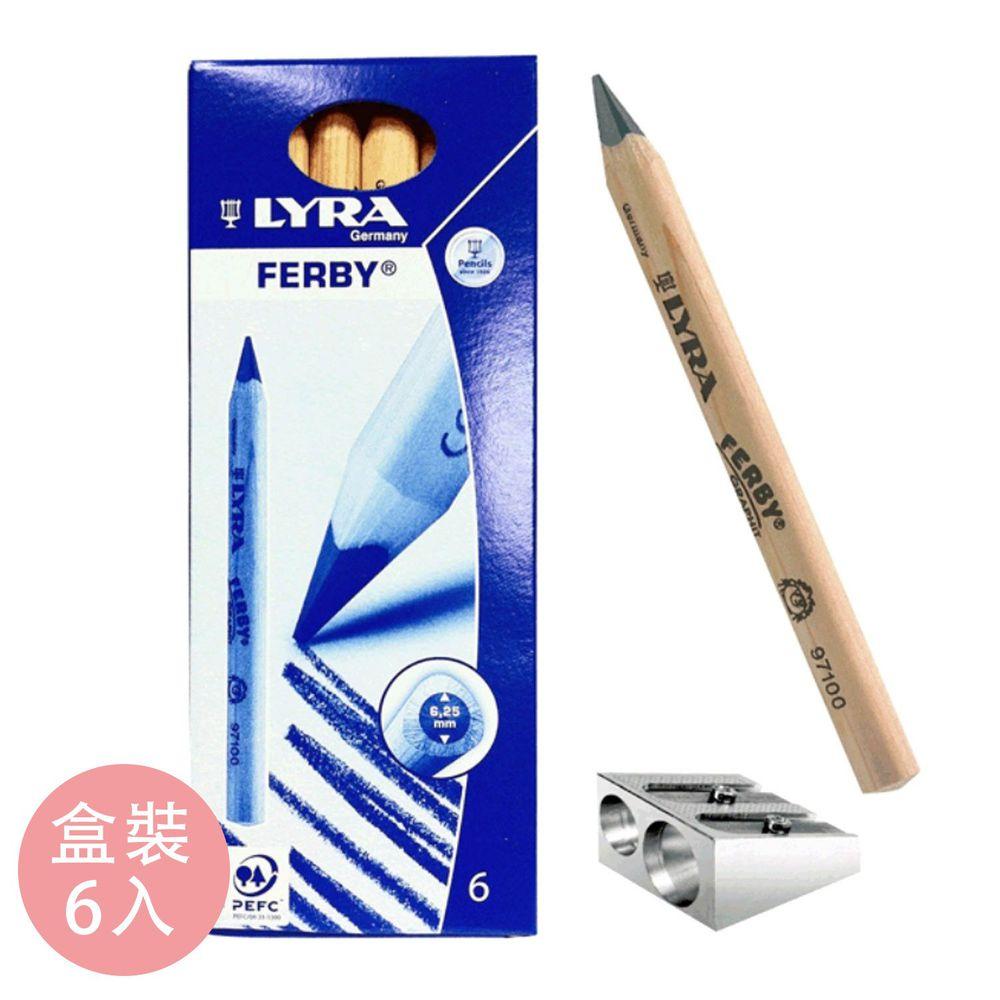 德國LYRA - 兒童三角原木鉛筆12cm/6入附筆削-3~5歲