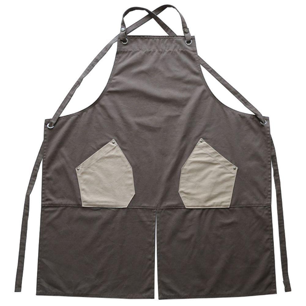 工業風撞色口袋圍裙-防水款-灰色
