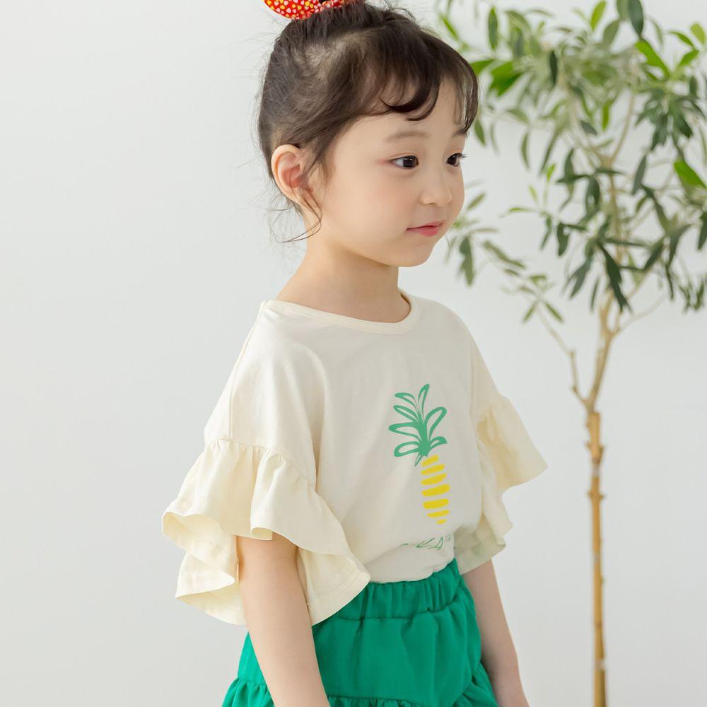 韓國 Orange Mom - 鳳梨大荷葉袖上衣-米白