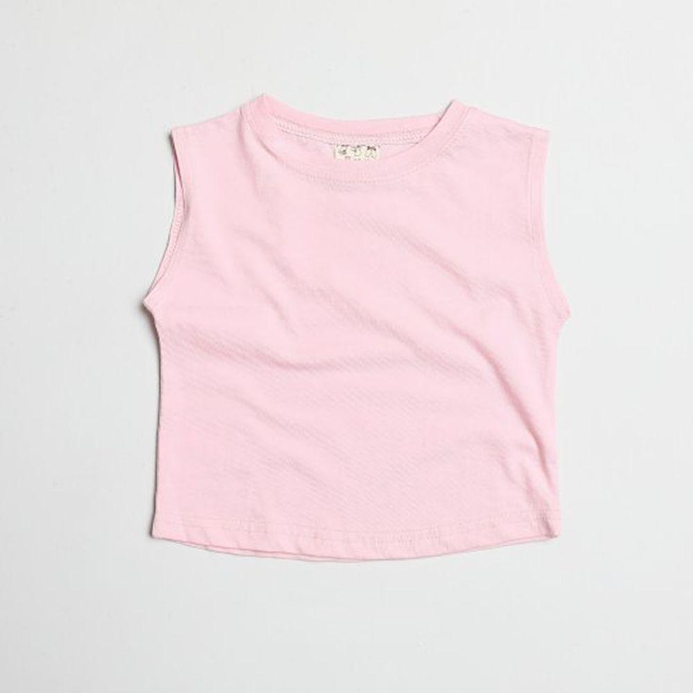 韓國製 - 水洗加工布純棉無袖T-粉紅