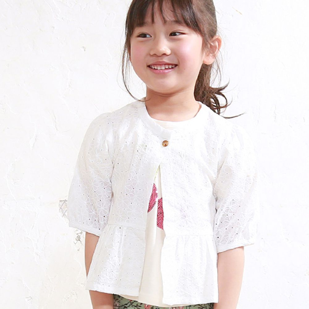 日本 TORIDORY - 雕花蕾絲五分薄外套-白