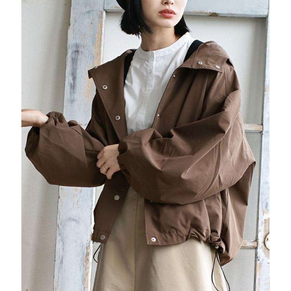 日本 zootie - 抽繩設計修身寬鬆連帽休閒外套-咖啡
