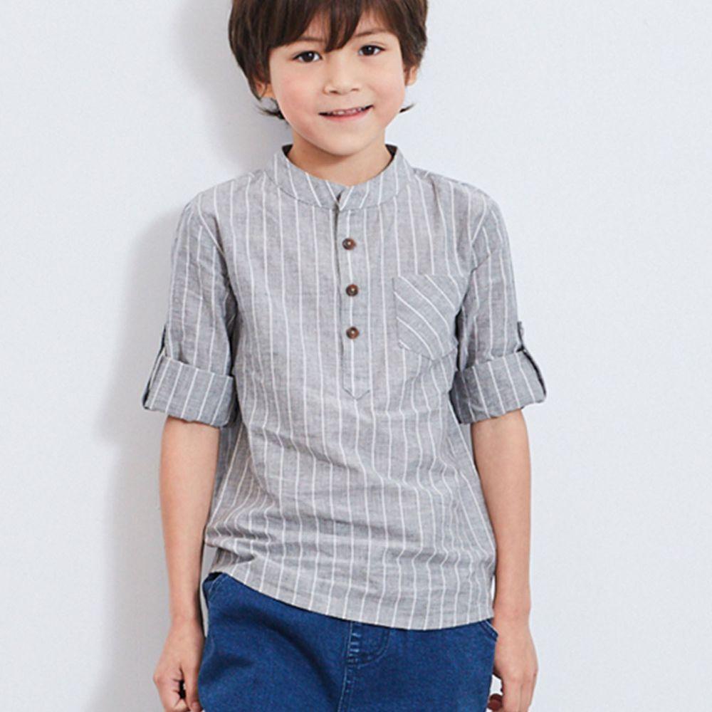 麗嬰房 Little moni - 條紋襯衫-灰色
