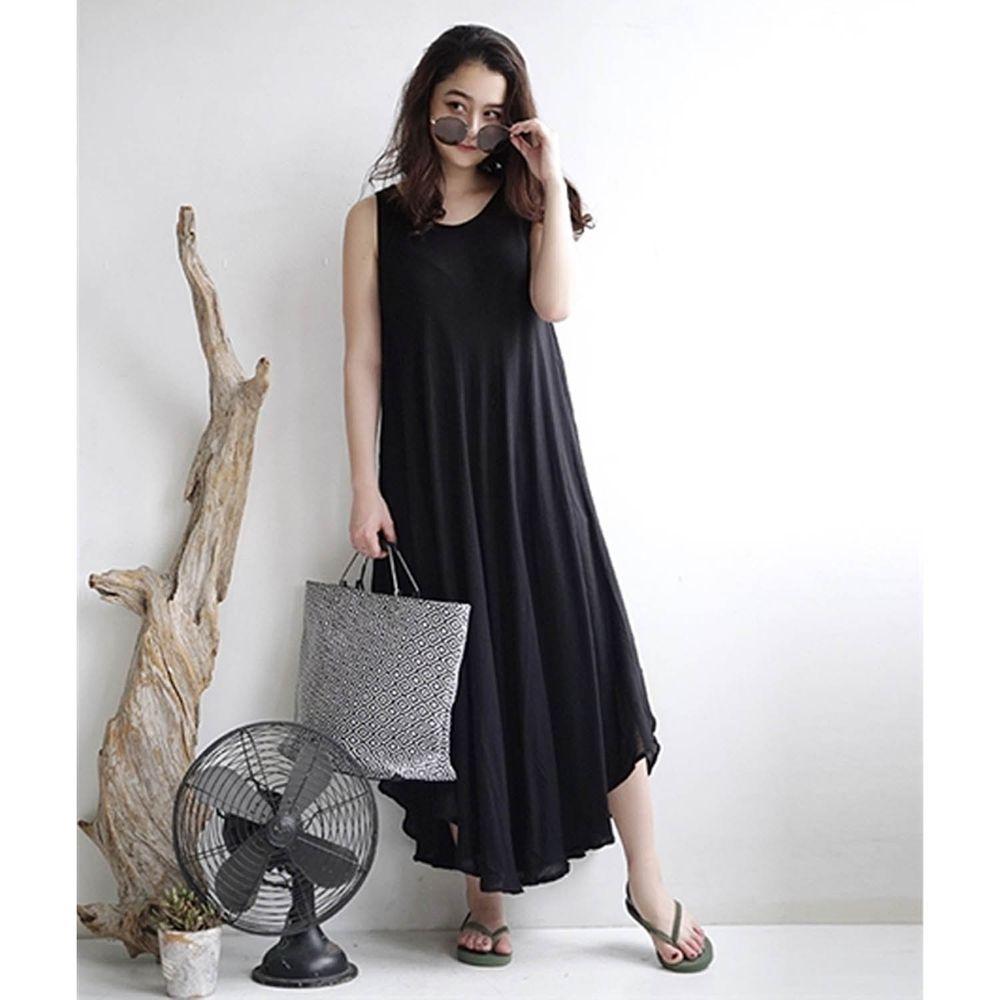 日本 zootie - 涼感不規則U型裙擺背心洋裝-經典黑 (Free)