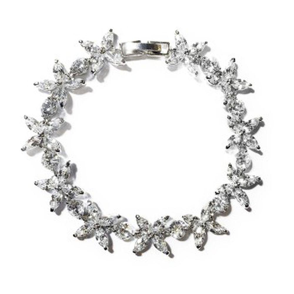美國ILG鑽飾 - 永恆花戀款手鍊 名媛設計擬真鑽石手鍊-頂級美國ILG鑽飾,媲美真鑽亮度的鑽飾-加贈高級珠寶級絨布盒1個-外國抗敏材質電鍍頂級白K金色