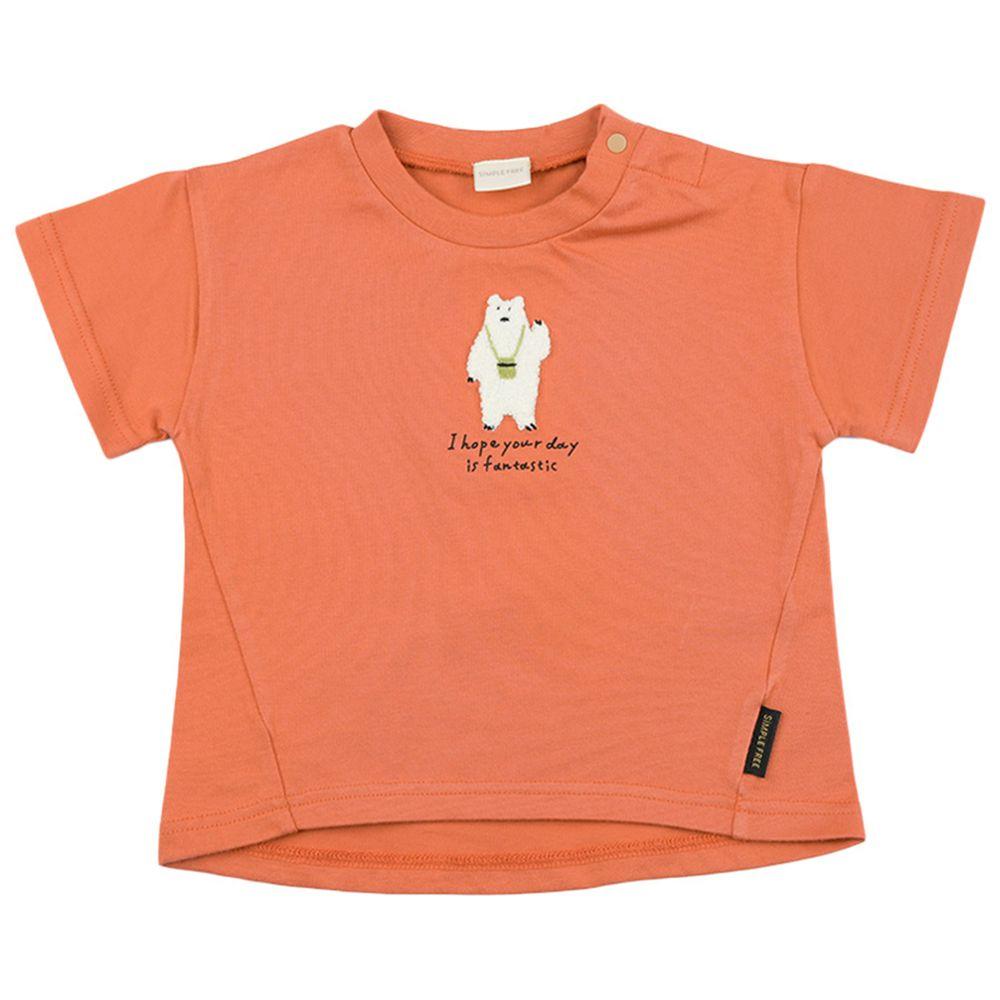 akachan honpo - 短袖趣味T恤-動物刺繡(有肩釦)-橘色