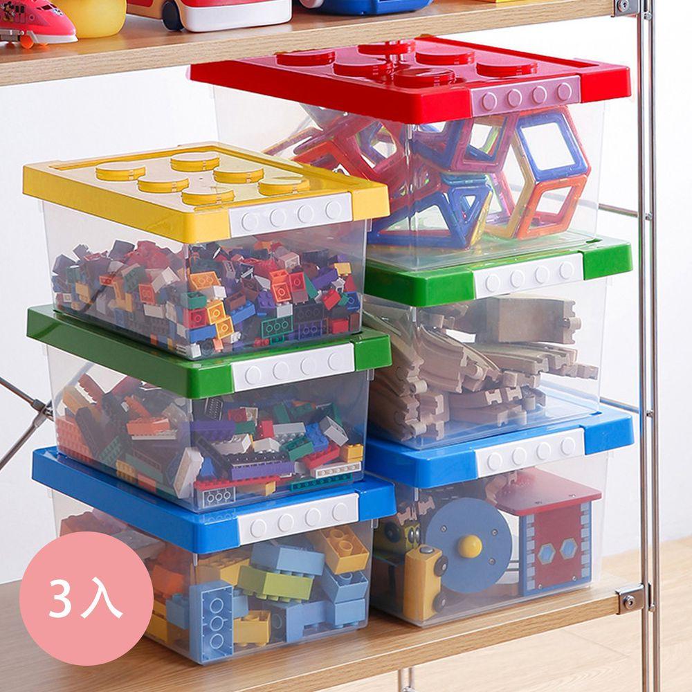 日本霜山 - 樂高可疊式積木玩具收納盒-加大款-3入-藍