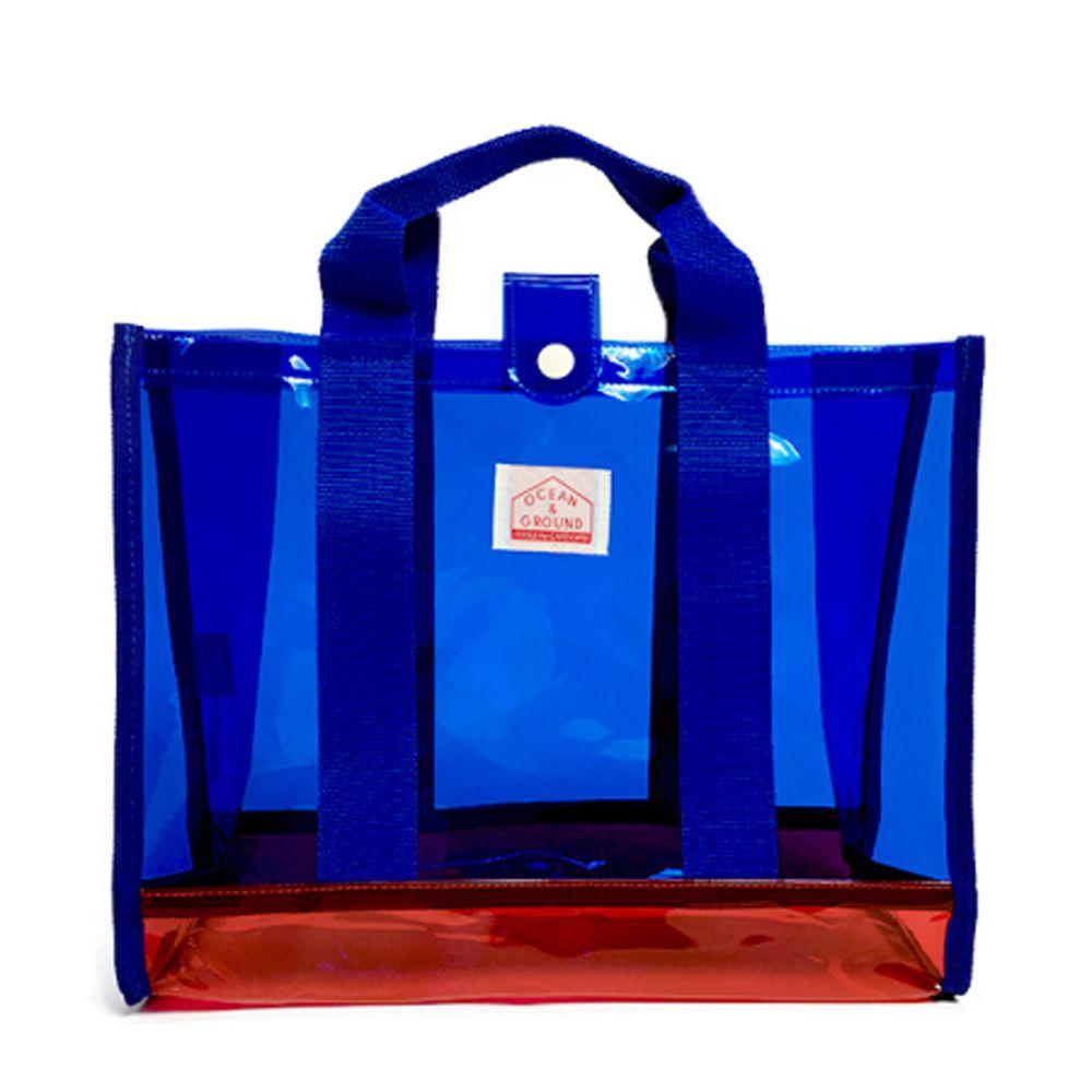 日本 OCEAN&GROUND - 透明PVC防水手提袋-藍 (26.5x34x13.5cm)