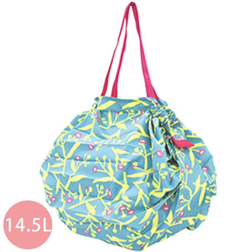 日本 MARNA - Shupatto 秒收摺疊購物袋-水藍花草 (M(30x35cm))-耐重5kg / 14.5L