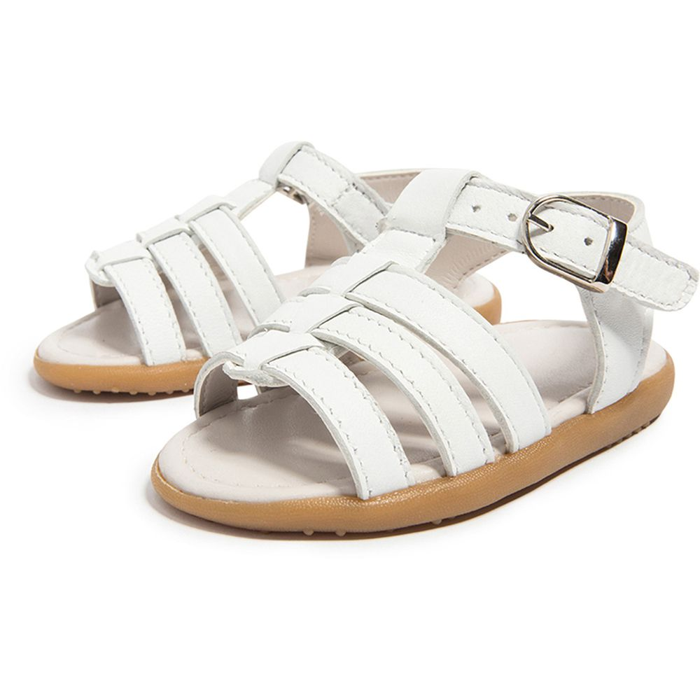 英國 shooshoos - 健康無毒真皮手工涼鞋/童鞋-純白一夏