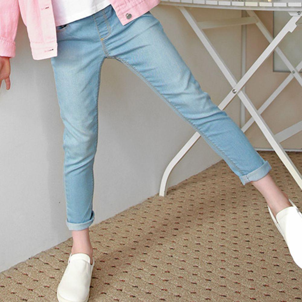 韓國 J KIDS - 微刷白假鈕扣牛仔褲-天藍