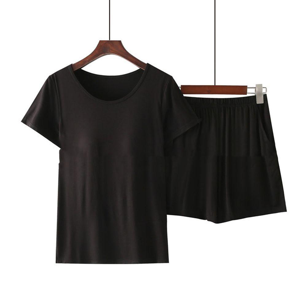 莫代爾柔軟涼感Bra T家居服-短褲套裝-黑色