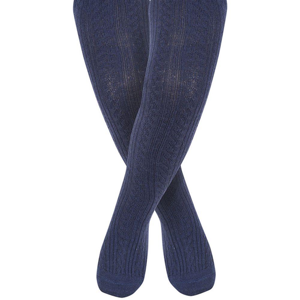 英國 JoJo Maman BeBe - 編織螺紋寶寶小童內搭褲襪/保暖襪-海軍藍