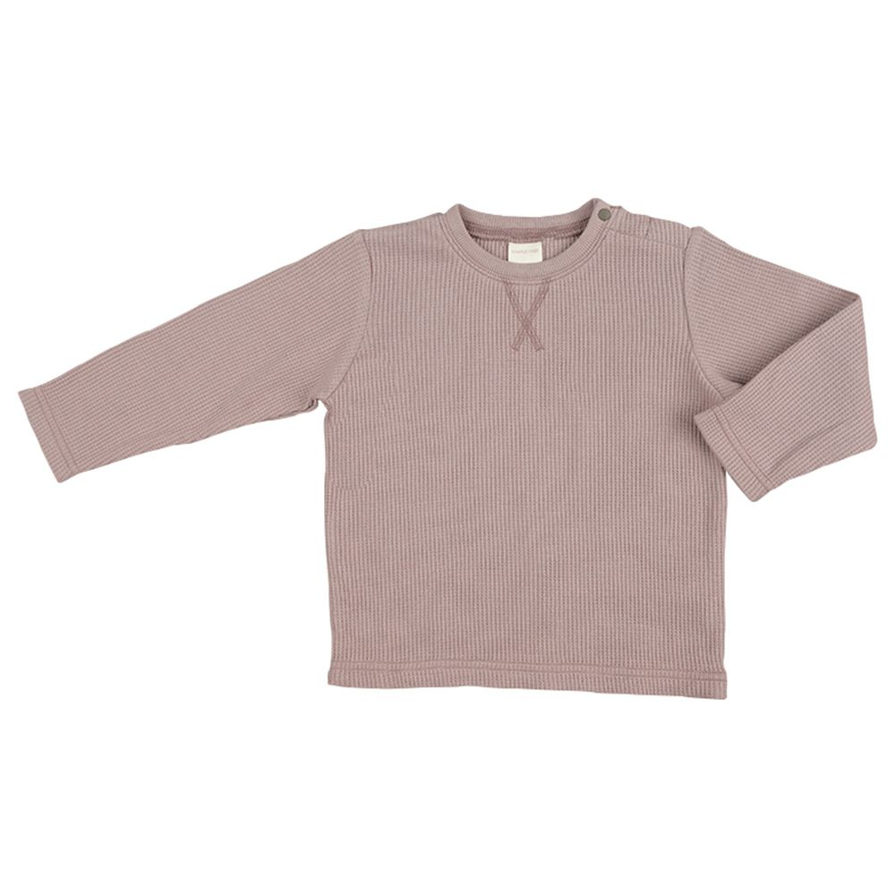 akachan honpo - 華夫格長袖T恤-灰色