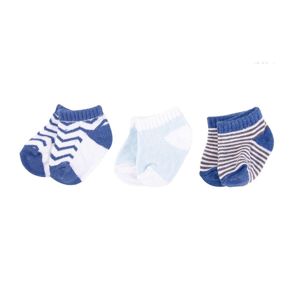 美國 Luvable Friends - 嬰兒襪/寶寶襪/初生襪/短襪 3入組-寶藍紋路