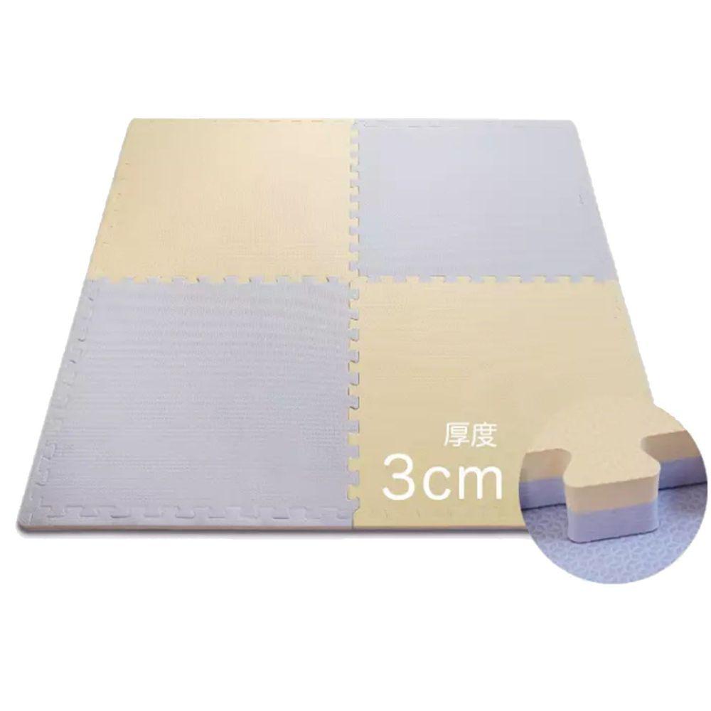 Pato.Pato - EVA巧拼地墊-馬卡龍雙色雙面-鵝黃&紫 (60x60x3cm)-9片(附贈邊條x18)