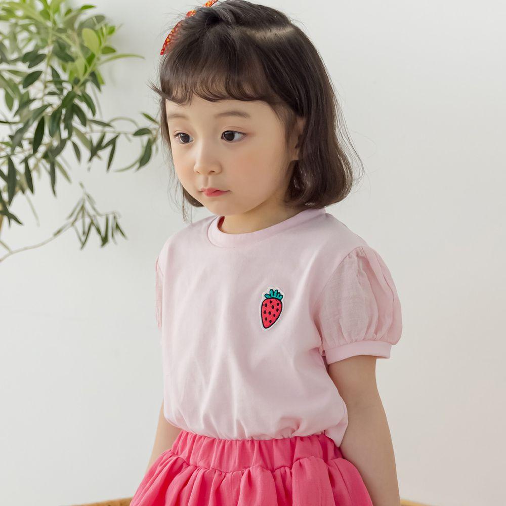 韓國 Orange Mom - 小巧草莓泡泡袖上衣-粉紅