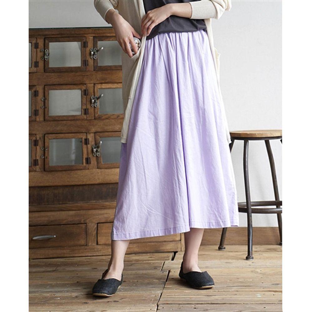 日本 zootie - 麻料舒適寬褲裙-粉紫