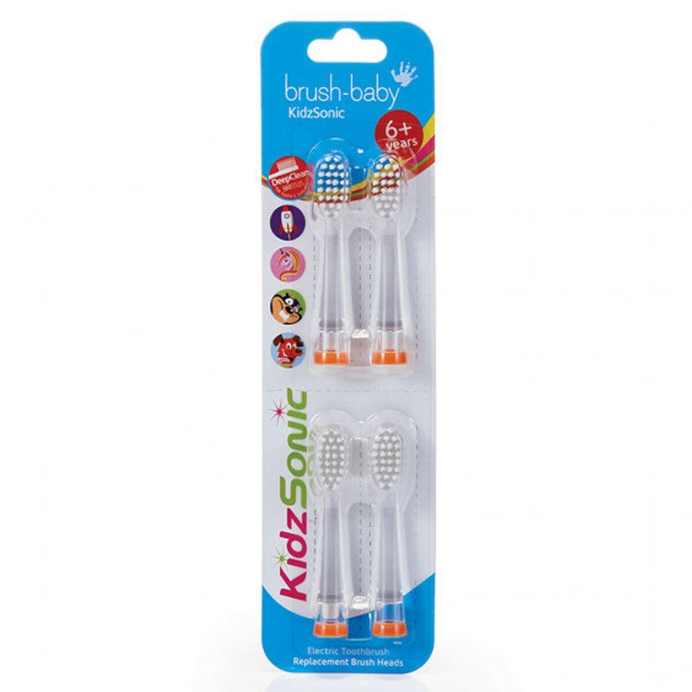 英國 brush-baby - 聲波電動牙刷替換刷頭4入-6歲+用