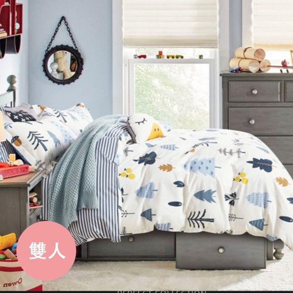PureOne - 極致純棉寢具組-月光森林-雙人四件式床包被套組