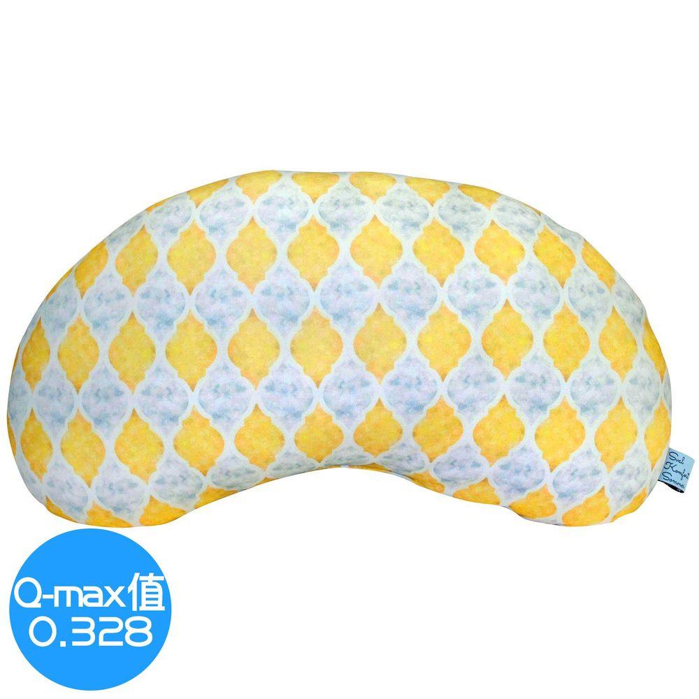 日本 DAIKAI - 接觸涼感豌豆枕/午睡枕/枕頭-菱格-黃 (45x25cm)