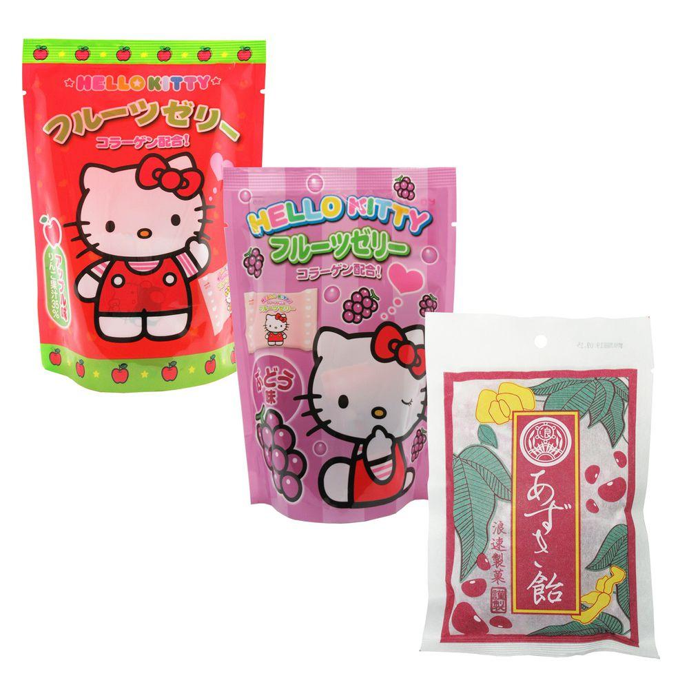 浪速製菓 - Hello Kitty果凍(葡萄/蘋果)+紅豆麻糬軟糖嚐鮮3入組合-110g*1+130g*1+90g*1