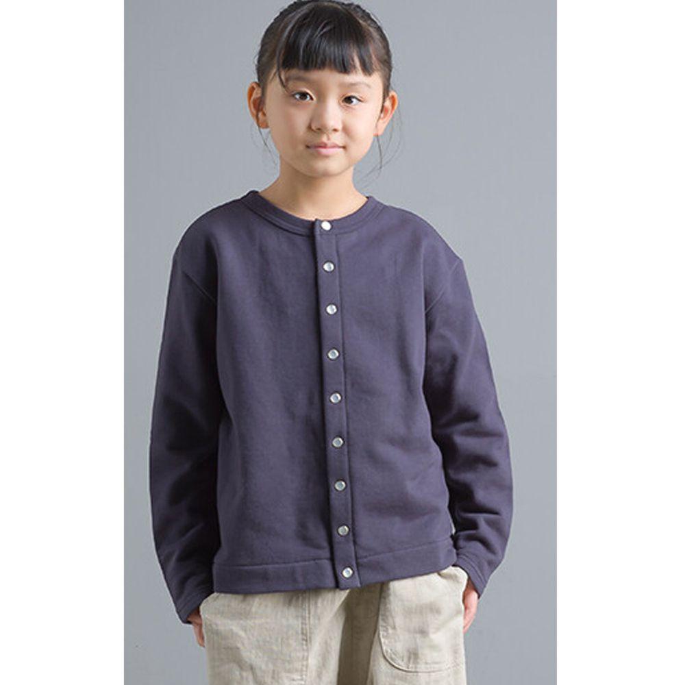 日本女裝代購 - 2way珍珠鈕扣裏毛上衣/外套(小孩)-深藍