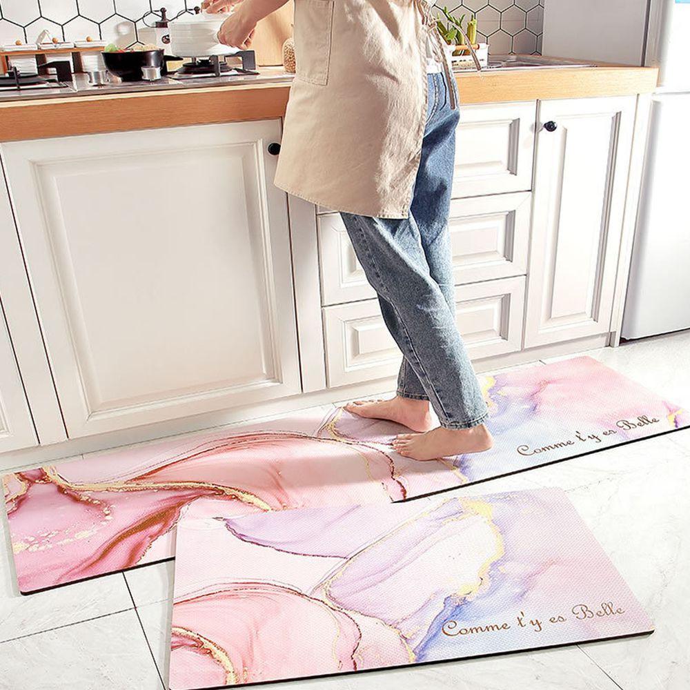 廚房仿皮革PVC防水腳踏墊-粉色大理石-粉色