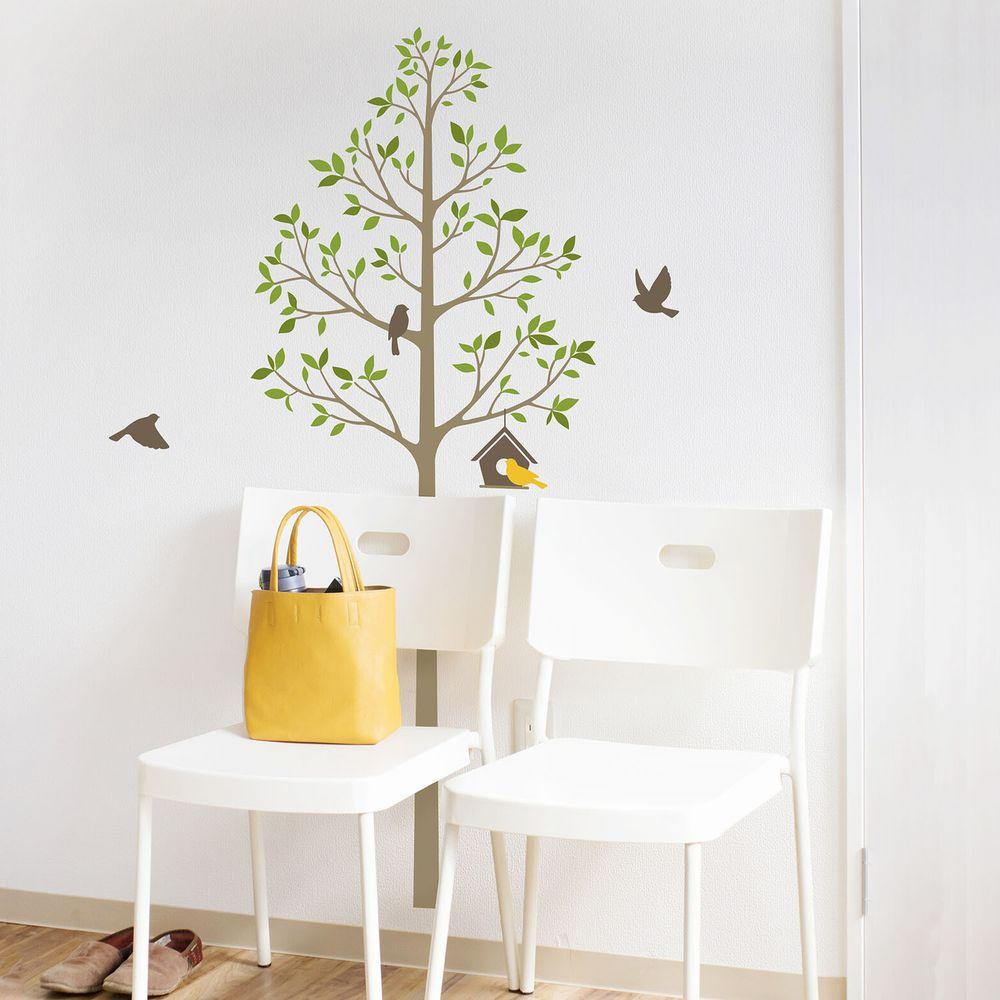 日本 TOKYO STICKER - 日本製 質感無邊框壁貼 [精緻轉印款]-樹與鳥屋-綠 (100*32cm)
