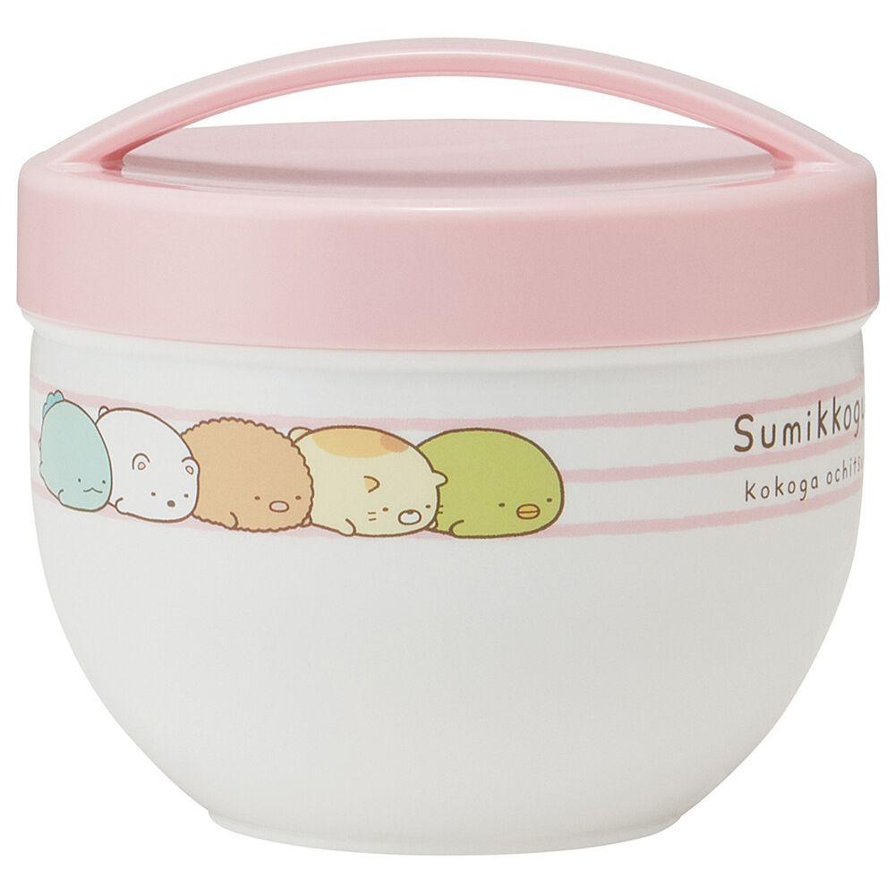 日本 SKATER 代購 - 超輕量保溫保冷罐/便當盒-角落生物-粉條紋 (230ml+330ml)