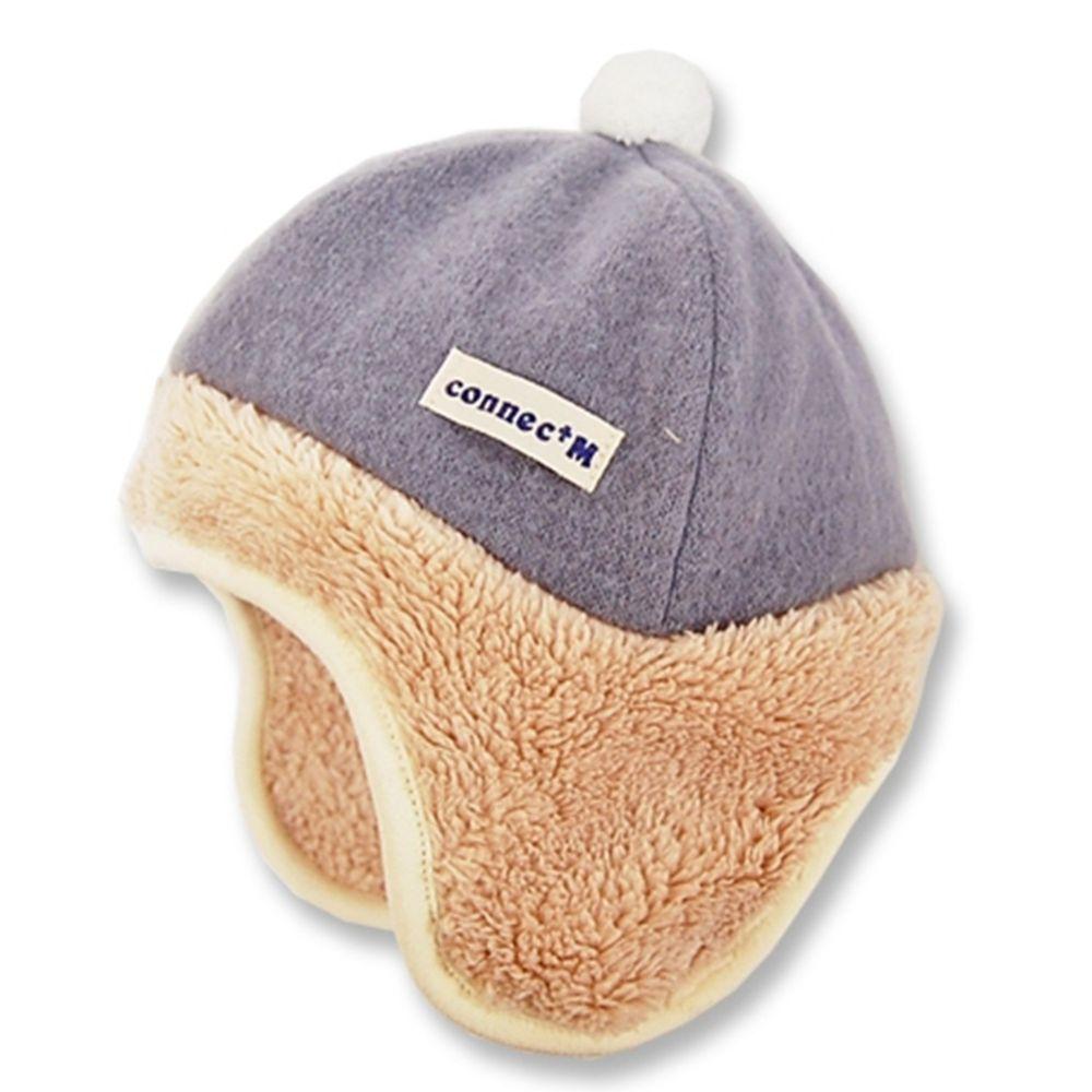 日本 Connect M - 日本製可愛冬帽-小童款-遮耳帽_灰底-83-1011