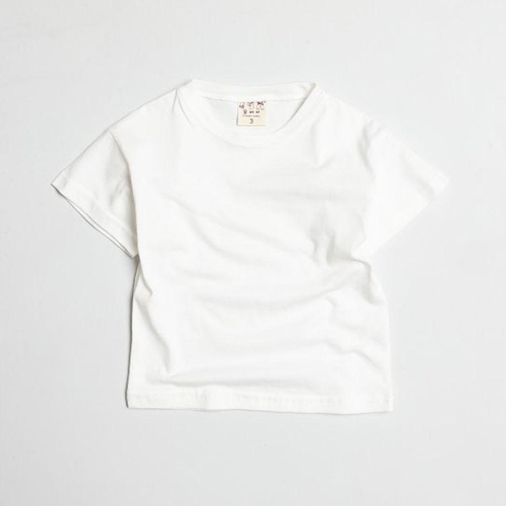 韓國製 - 水洗加工布糖果色純棉T-白
