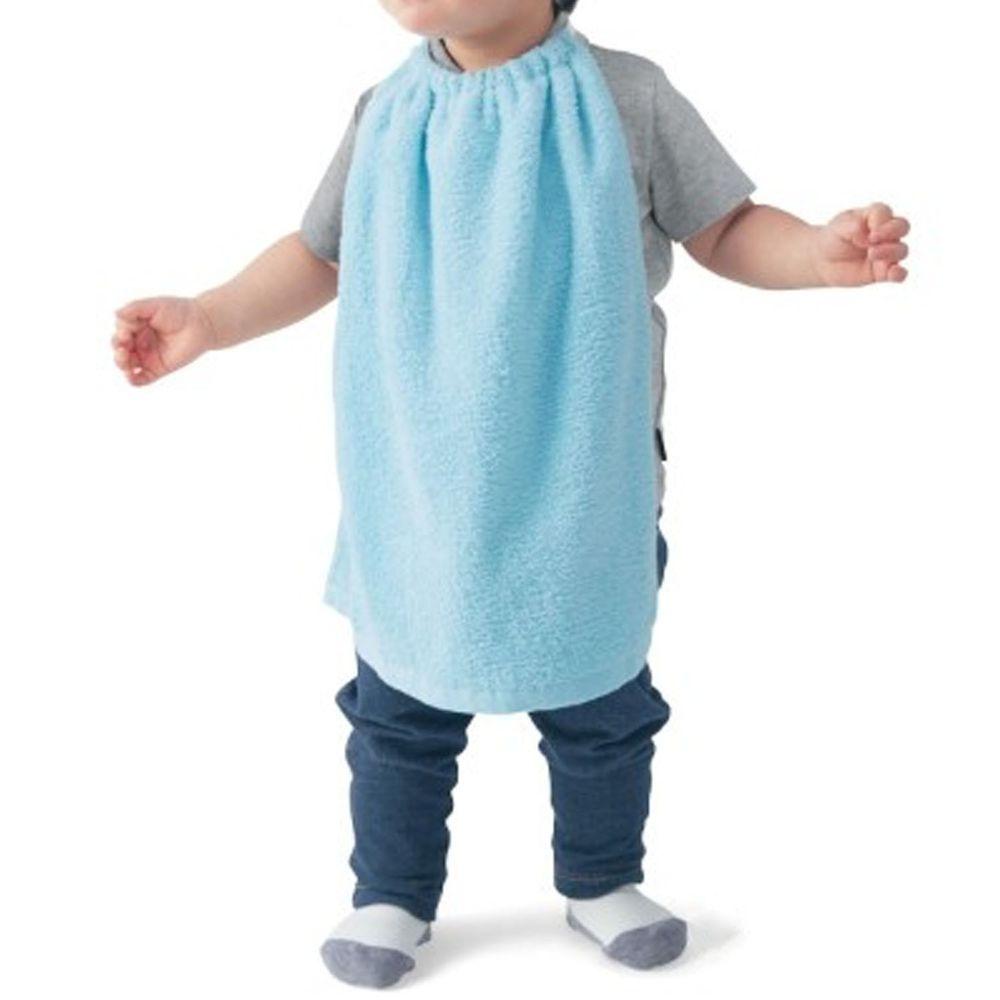 日本千趣會 - 毛巾圍兜3件組-藍 (長(34x42.5cm(雙層)))