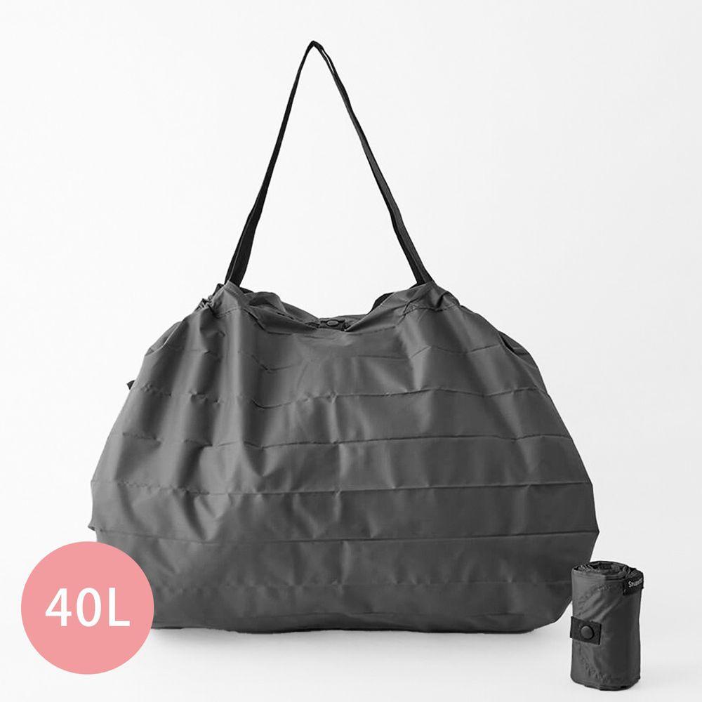 日本 MARNA - Shupatto 秒收摺疊購物袋(可掛購物籃)-五週年限定升級款-石墨灰 (L(50x38cm))-耐重15kg / 40L