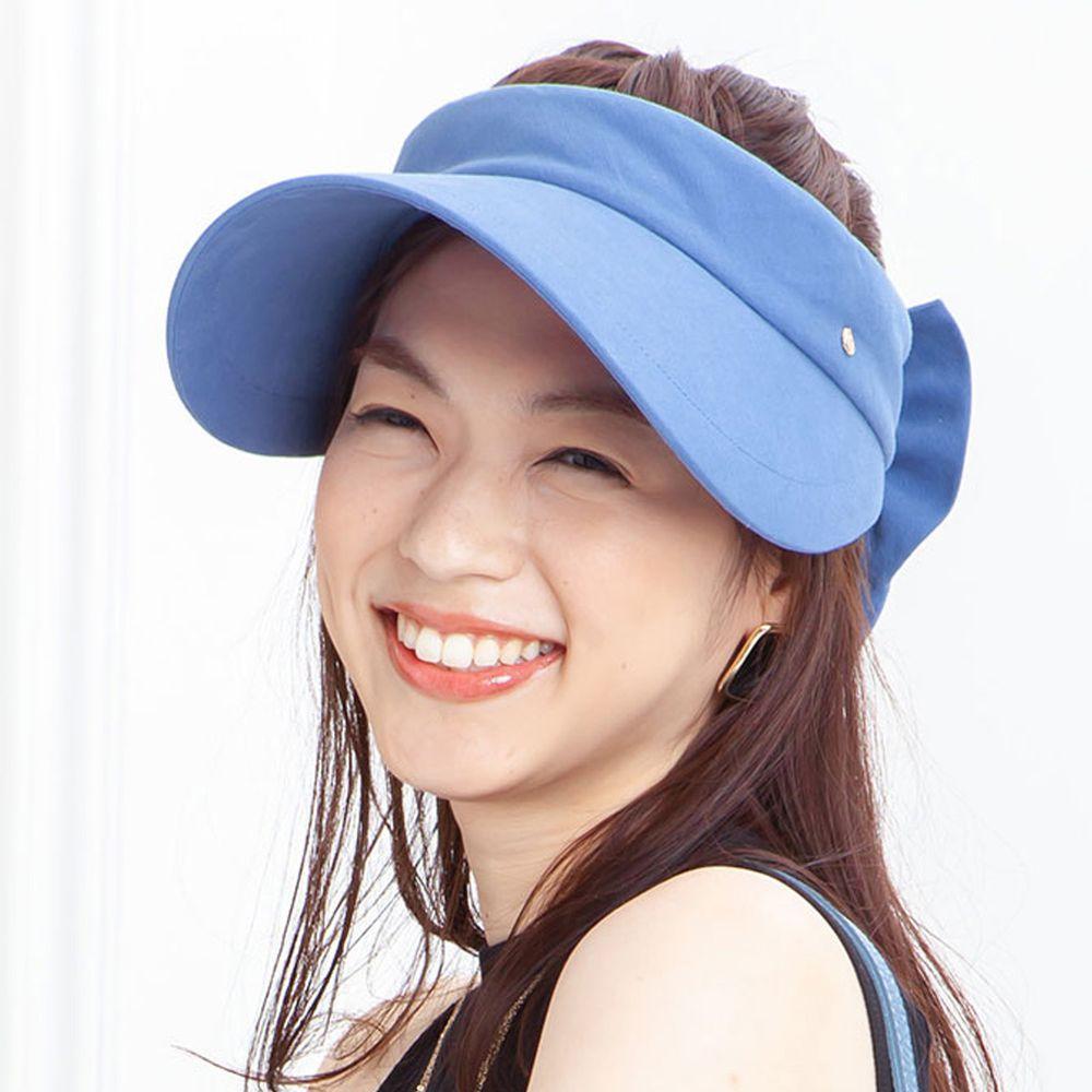 日本 irodori - 【irodori】抗UV蝴蝶結緞帶網球帽(可調尺寸)-天空藍 (M(58cm))