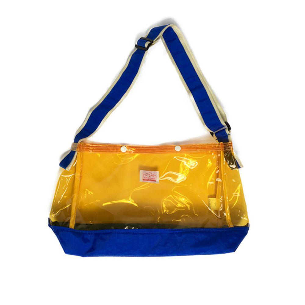 日本 OCEAN&GROUND - 透明PVC防水側背包-黃藍 MS (26.5x36x14.5cm)