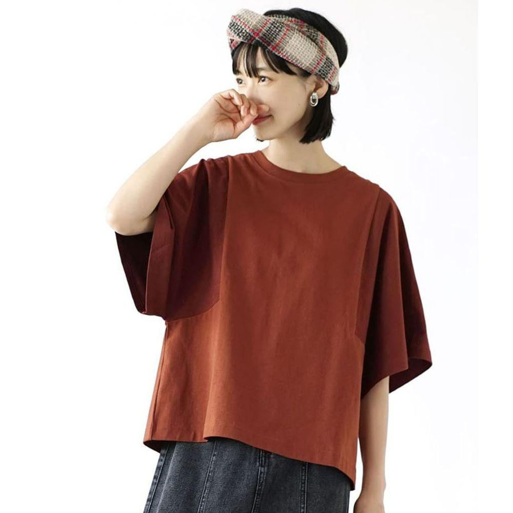日本 zootie - 抗透汗 撞色顯瘦設計寬版五分袖上衣-磚紅咖