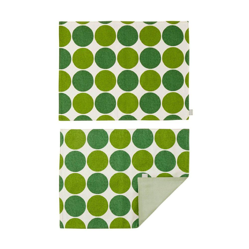 日本千趣會 - 日本製 純棉餐墊兩入組-普普圓點-綠 (46x35cm)