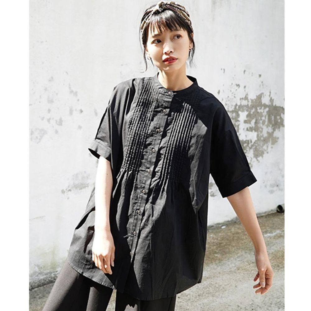 日本 zootie - 純棉優雅微百摺五分袖襯衫/小外套-時尚黑 (Free)
