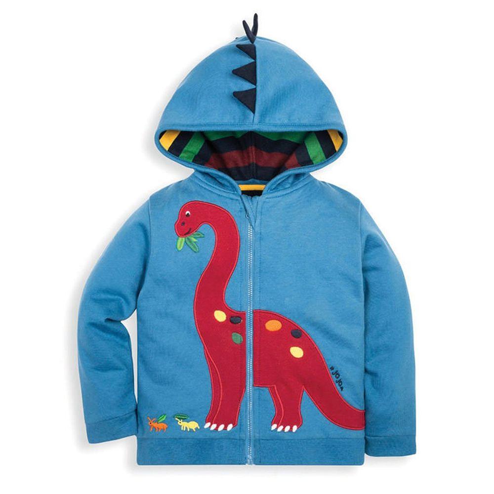 英國 JoJo Maman BeBe - 雙面穿100%純棉保暖連帽外套-紅色恐龍