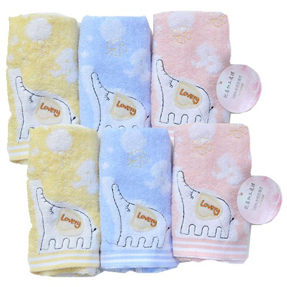 貝柔 Peilou - 無捻紗大象柔棉童毛巾6入-鵝黃/粉藍/粉紅各2條 (25x52cm)