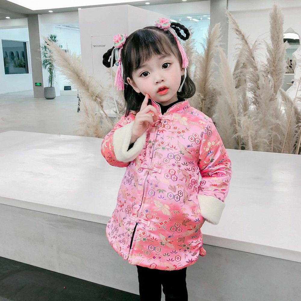 盤扣棉襖刺繡外套-粉色