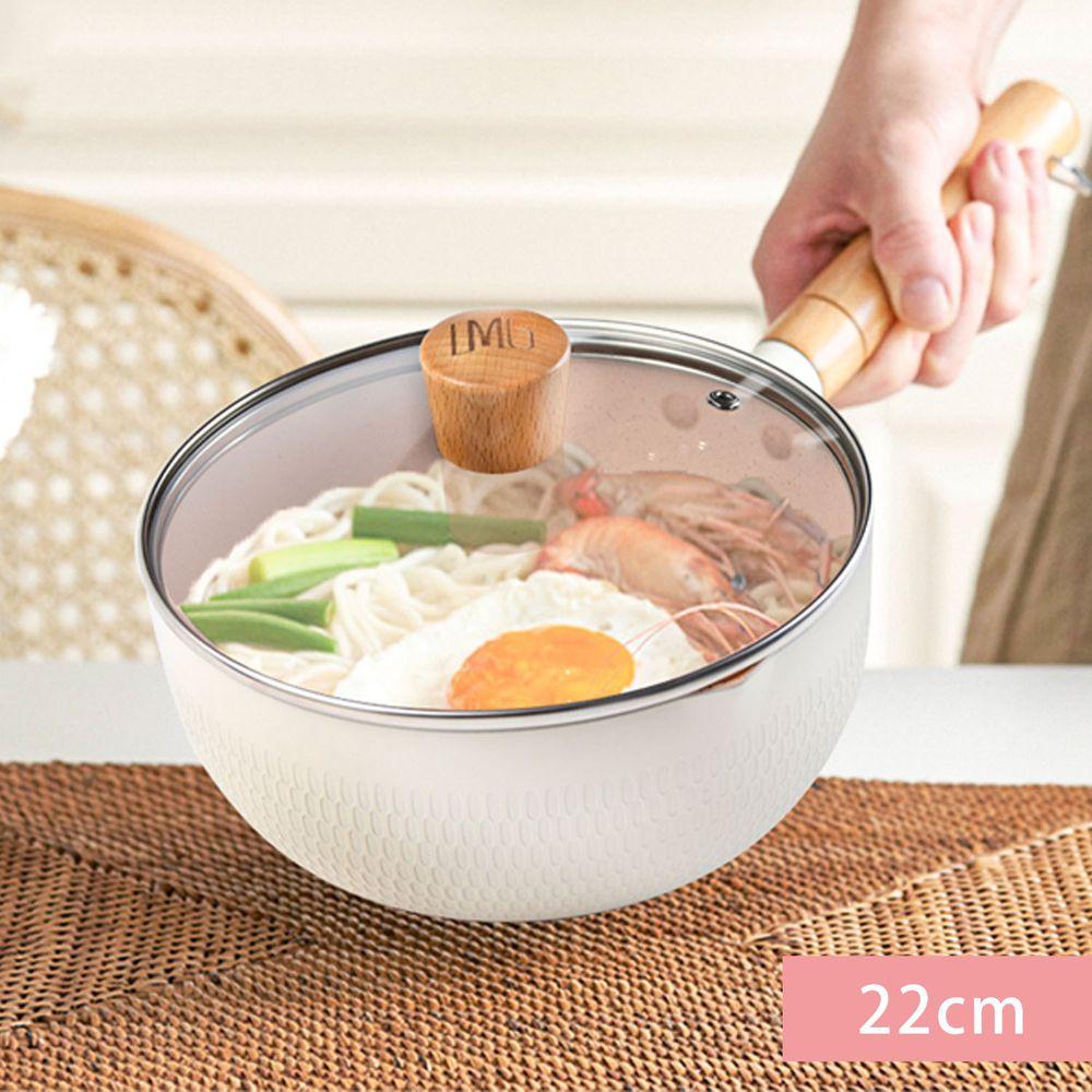 LMG - 日式錘紋不沾雪平鍋-含蓋-象牙白 (22cm)