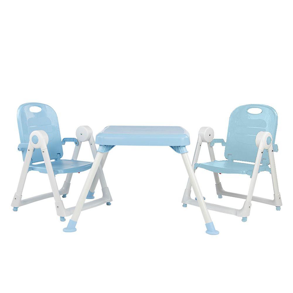 美國 ZOE - 兩椅一桌雙人組合-附白色小餐盤-冰雪藍