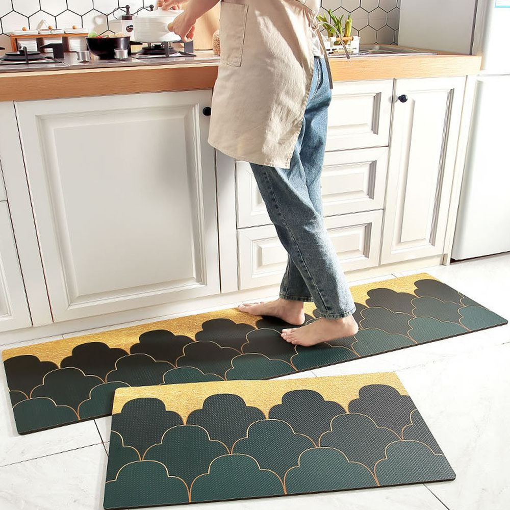 廚房仿皮革PVC防水腳踏墊-墨綠山丘